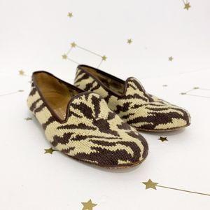 Stubbs & Wootton • Zebra Print Needlepoint Loafers